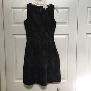 GORGEOUS ELLE BLACK DRESS WITH RAISED FLORAL SILK